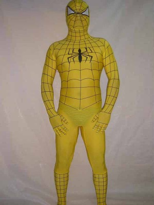 Lycra Spandex Yellow Spiderman Costume Outfit