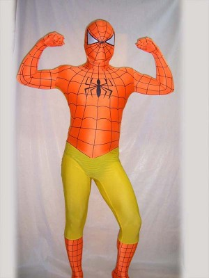 Full Body Orange and  Yellow Spiderman Costume