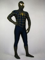 Full Body Blue Spiderman Costume With Yellow Stripe