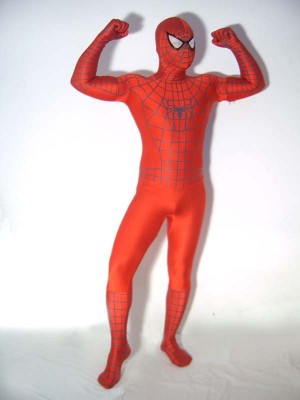 Red Spiderman Costume with Black Stripe