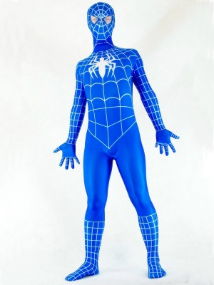 Blue and White Spandex Spiderman Costume